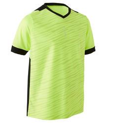 兒童款短袖足球上衣F500-螢光黃/黑色
