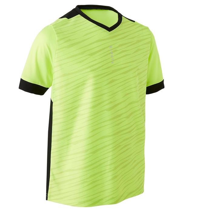 兒童款短袖足球運動衫F500-螢光黃/黑色