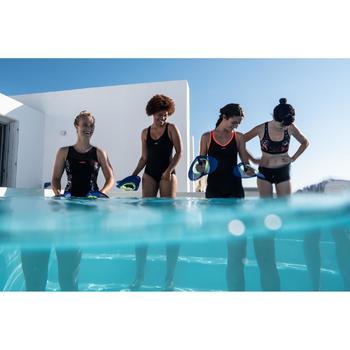 Maillot de bain une pièce combishort d'Aquafitness femme Lou noir orange