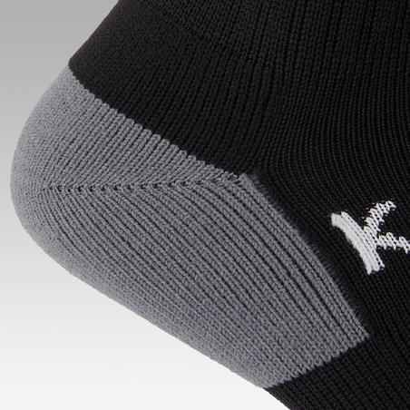 Kids' Football Socks F500 - Black with Stripes