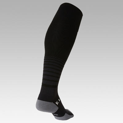 Kids' Football Socks F500 - Black with Stripes