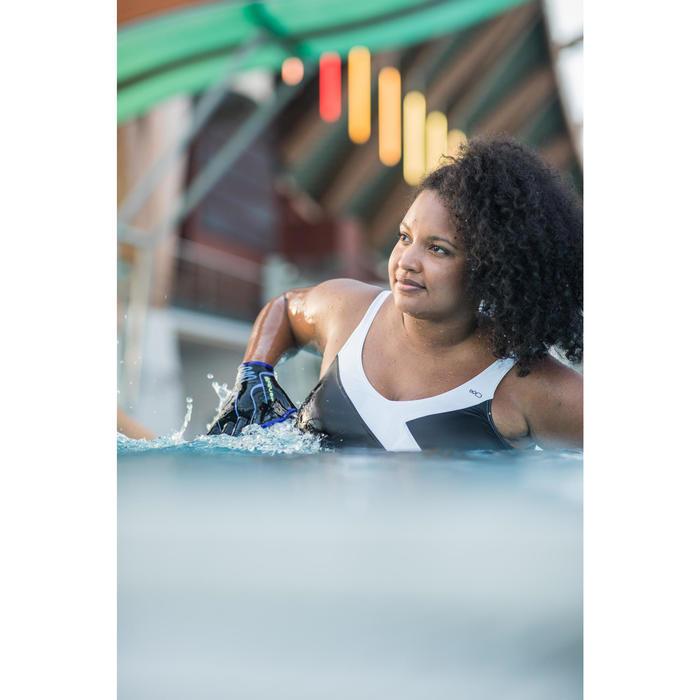 Bañador 1 pieza mujer moldeador de aquagym Karli Negro blanco