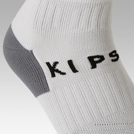 Chaussettes de football rayée enfant F500 blanche