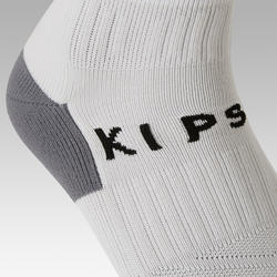Kids' Football Socks F500 - White with Stripes