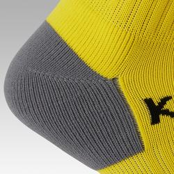 Chaussette de football rayée enfant F500 jaune