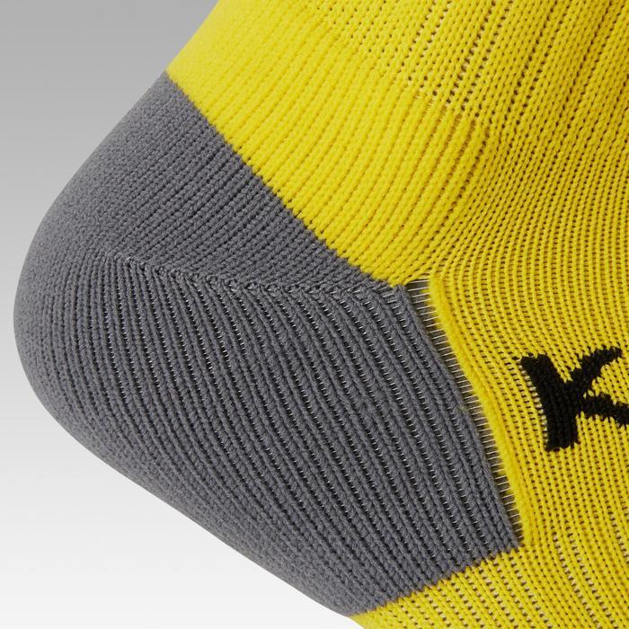 Fußballstutzen F500 Kinder gelb mit Streifen