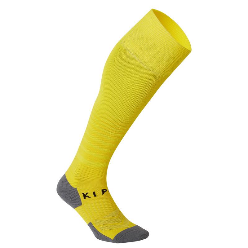 Kids' Football Socks F500 - Yellow with Stripes