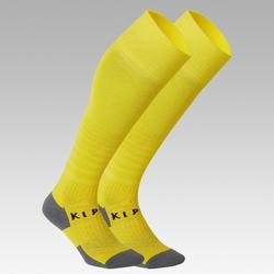 Chaussettes de football rayée enfant F500 jaune