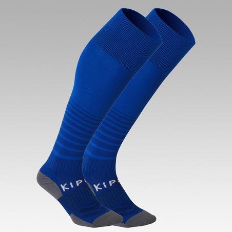 Kids' Football Socks F500 - Blue with Stripes