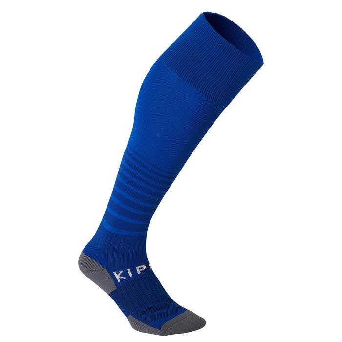 Chaussettes de football rayée enfant F500 bleue