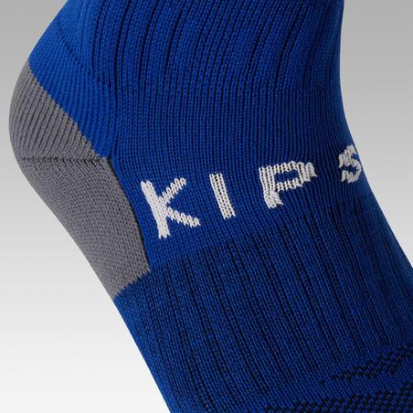 Chaussettes de football rayée F500 bleue - Enfants