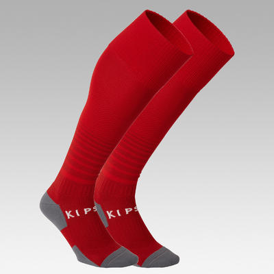 Kids' Football Socks F500 - Red with Stripes