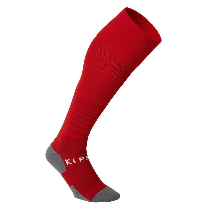 Chaussettes de football rayée enfant F500 rouge