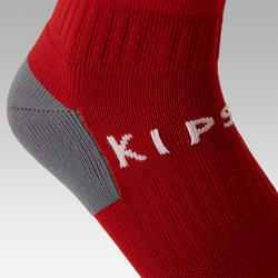 Kids' Football Socks F500 - Red with Stripes