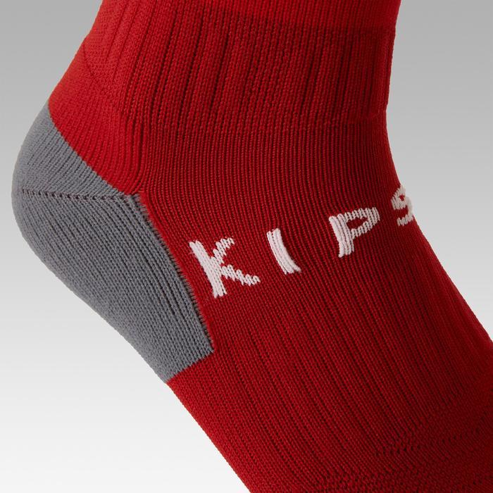 Chaussette de football rayée enfant F500 rouge