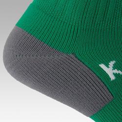 Kids' Football Socks F500 - Green with Stripes