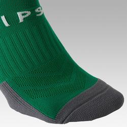 Kids' Football Socks F500 - Green with Stripes