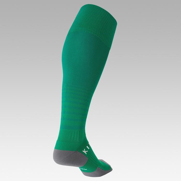 Chaussettes de football rayée enfant F500 verte