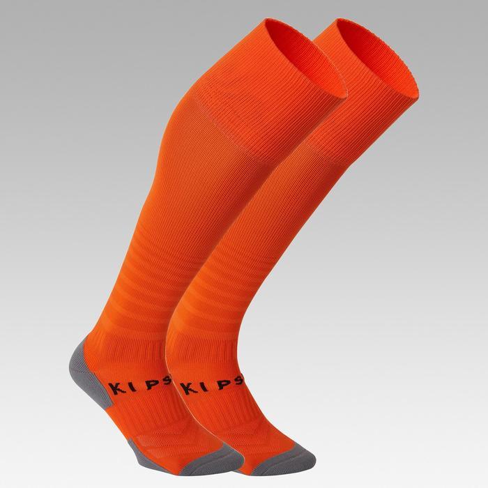 Chaussettes de football rayée enfant F500 orange