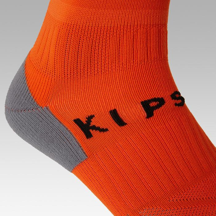Kids' Football Socks F500 - Orange with Stripes