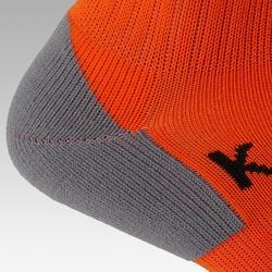 Chaussette de football rayée enfant F500 orange