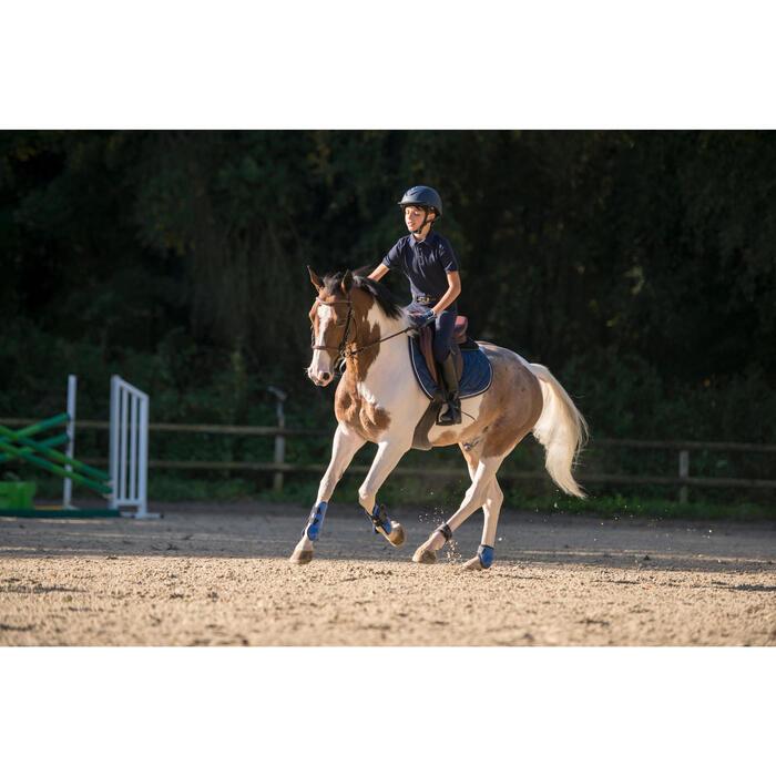 Polo Manga Corta Equitación Fouganza 140 Niño Azul Marino Cuello Cambray