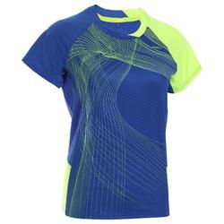 Camiseta de bádminton manga corta perfly 560 mujer azul y amarillo