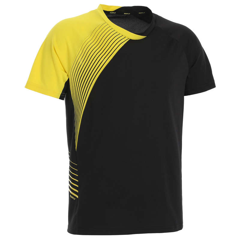 MEN'S INTERMEDIATE BADMINTON APPAREL - T shirt 530 M BLACK YELLOW PERFLY