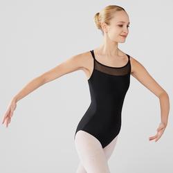 Maillot de danza clásica tirantes cruzados mujer azul negro