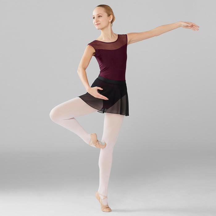 Tanzbody Ballett Kurzarm Bi-Material pflaume