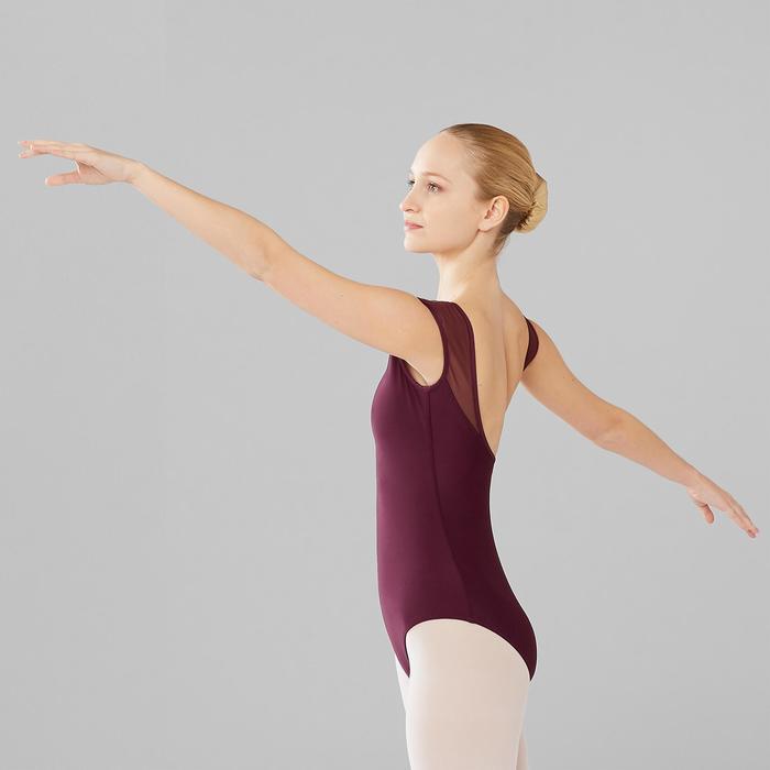 Maillot de danza clásica manga corta en dos materias ciruela