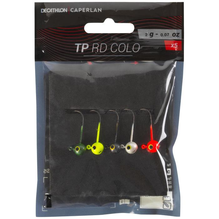 Cabeza plomada de color pesca con señuelos TP RD COLO 2 g