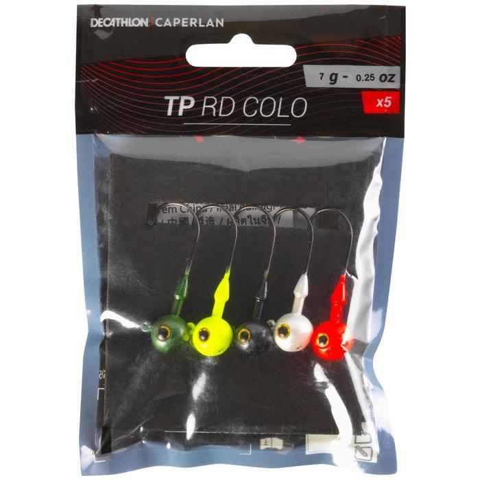 Cabeza plomada de color pesca con señuelos TP RD COLO 7 g
