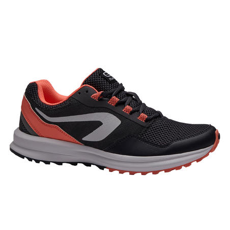 KALENJI RUN ACTIVE GRIP WOMEN'S RUNNING SHOES - GREY CORAL