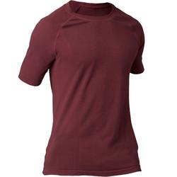 無縫短袖舒緩瑜珈T恤 - 暗紅色