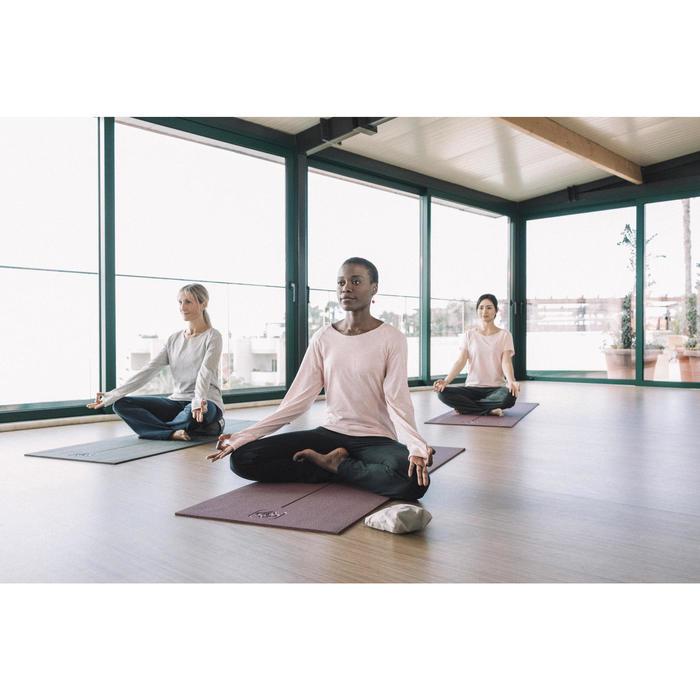 Damesbroek in biokatoen voor zachte yoga zwart / grijs