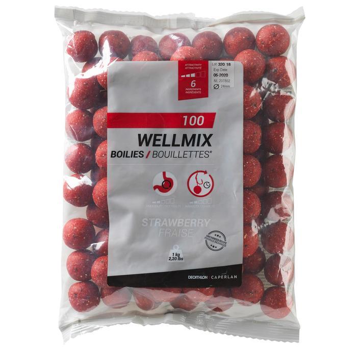 Boilies karperhengelen Wellmix 24 mm aardbei 1 kg
