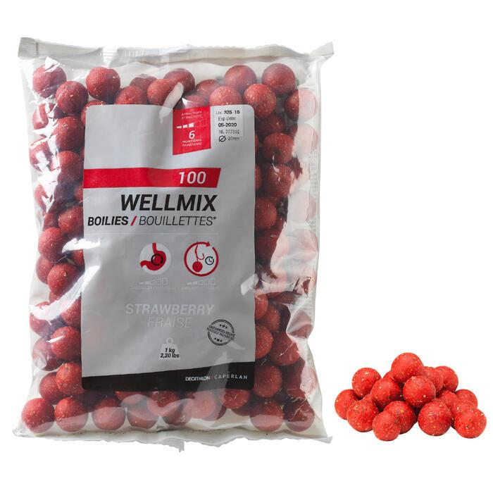 Boilies Wellmix 20mm Erdbeere 1kg Karpfenangeln