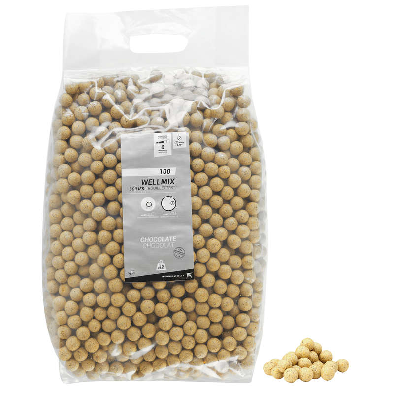 CARP BAITS, BAITING EQUIPEMENT Fishing - WELLMIX BOILIES - CHOCOWHITE CAPERLAN - Carp Fishing
