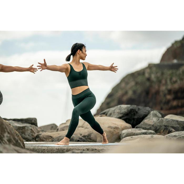 Naadloze 7/8-legging yoga donkergroen
