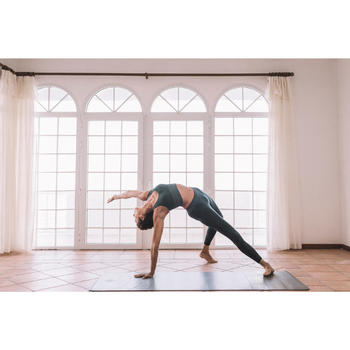 Top Sujetador Deportivo Yoga Dinámico Domyos 500 Mujer Verde Sin Costuras