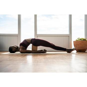 Mallas Piratas Leggings Deportivos Yoga Domyos 500 Sin costuras Mujer Burdeos