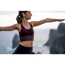 Top Sujetador Deportivo Yoga Domyos 500 sin costuras Mujer Burdeos