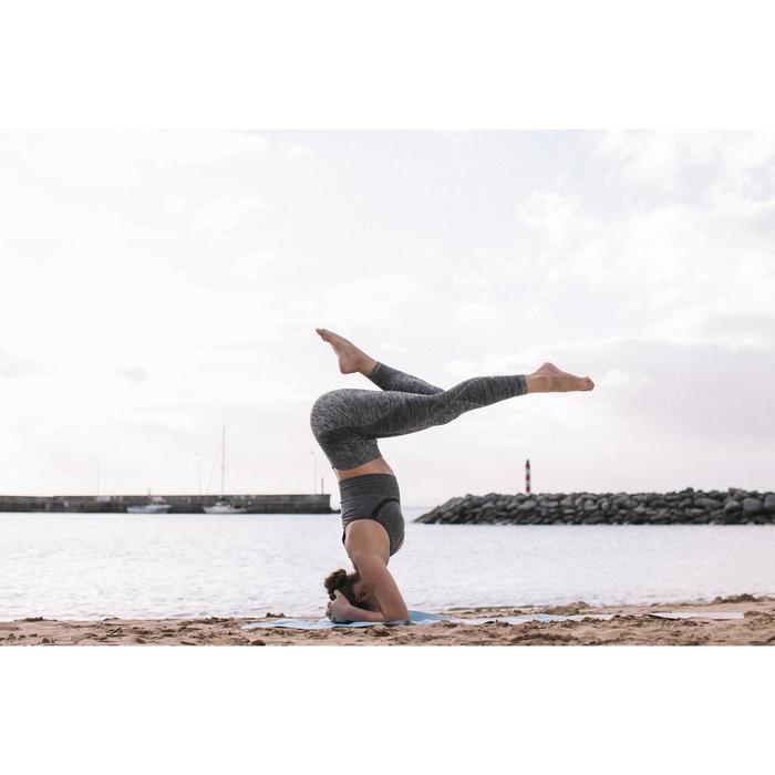 Mallas Piratas Leggings Deportivos Yoga Domyos 500 Slim sin costuras Mujer Gris