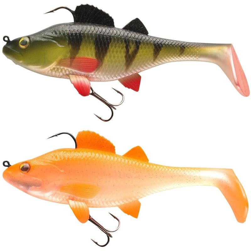Kit shad pesca artificiali morbidi PERCH RTC 130 arancione