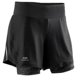女款2合1跑步短褲DRY+ - 黑色