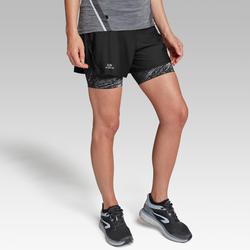 Pantalón Corto Deportivo Running Kalenji Run Dry+ Mujer Negro 2 En 1