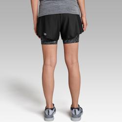 2-in-1 damesshort voor jogging Run Dry+ zwart