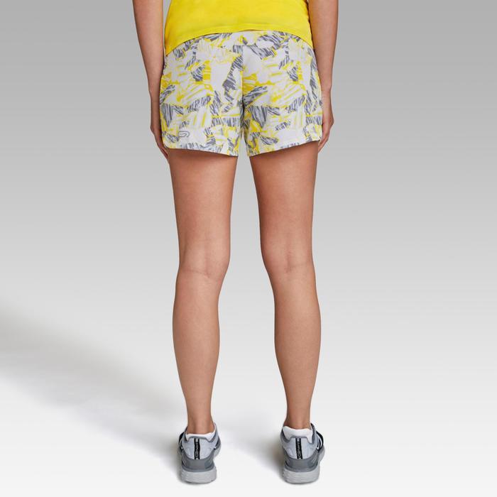 Pantalón Corto Deportivo Running Kalenji Run Dry Mujer Amarillo/Gris Estampado