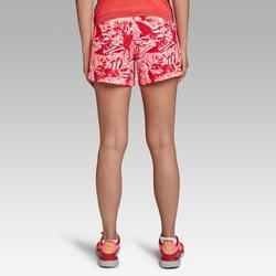 Pantalón Corto Deportivo Running Kalenji Run Dry Mujer Rosa/Coral Estampado